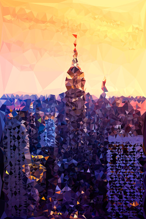 Low Poly New York Art - The Empire State Building at Sunset Prints by Philippe Hugonnard
