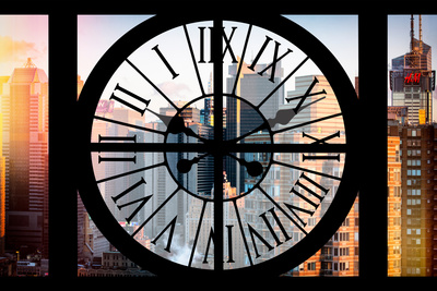 Giant Clock Window - View of the Skyscrapers of Times Square at Sunset Photographic Print by Philippe Hugonnard
