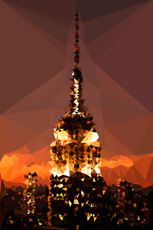 Low Poly New York Art - Top of the Empire state Building at Night Poster by Philippe Hugonnard