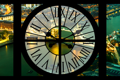 Giant Clock Window - View on the City of London with the Tower Bridge by Night VII Photographic Print by Philippe Hugonnard