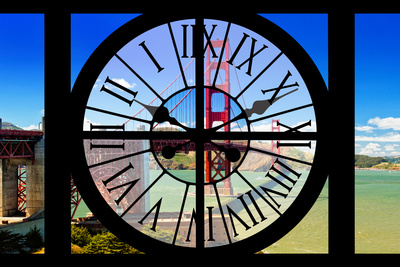 Giant Clock Window - View of the Golden Gate Bridge - San Francisco Photographic Print by Philippe Hugonnard
