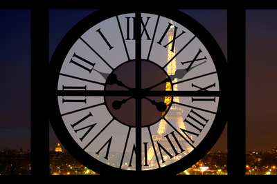 Giant Clock Window - View of the Eiffel Tower by Night - Paris V Photographic Print by Philippe Hugonnard