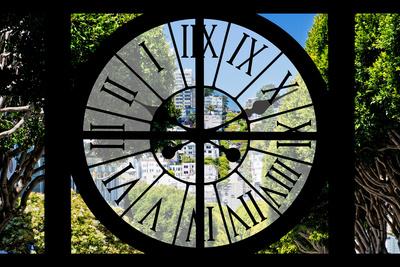Giant Clock Window - View of the Streets of San Francisco Photographic Print by Philippe Hugonnard