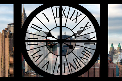 Giant Clock Window - View on the New York Skyscrapers Photographic Print by Philippe Hugonnard