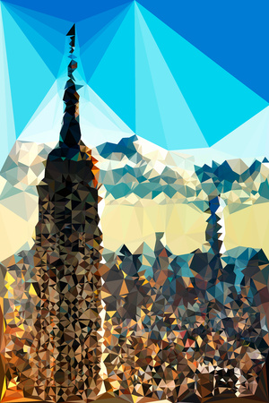Low Poly New York Art - The Empire State Building Sunset II Posters by Philippe Hugonnard