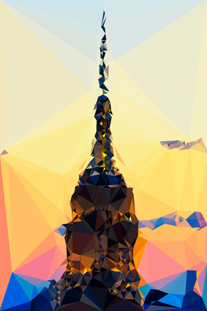 Low Poly New York Art - Top of the Empire state Building III Print by Philippe Hugonnard