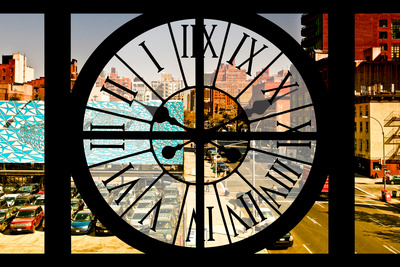 Giant Clock Window - View on the New York City - 10th Avenue Photographic Print by Philippe Hugonnard