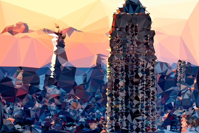 Low Poly New York Art - Top of the Empire state Building II Prints by Philippe Hugonnard