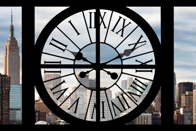 Giant Clock Window - View on the New York with the Empire State Building Photographic Print by Philippe Hugonnard