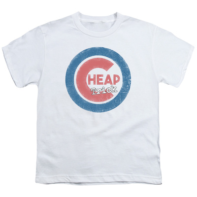 Youth: Cheap Trick- Distressed Logo Button T-Shirt