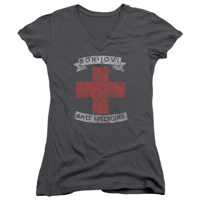 Juniors: Bon Jovi- Distressed Bad Medicine Cross V-Neck Womens V-Necks