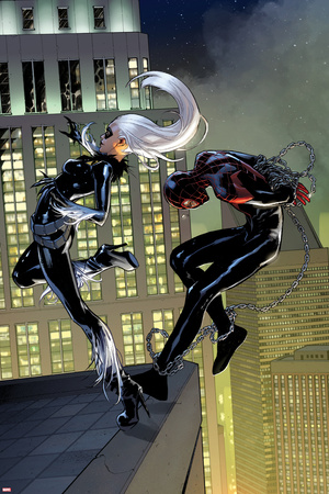 Spider-Man No. 5 Cover Art Featuring: Black Cat, Ultimate Spider-Man Morales Poster by Sara Pichelli