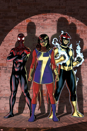 Ms. Marvel No. 7 Cover Art Featuring: Ultimate Spider-Man Morales, Ms. Marvel (Kamala Khan), Nova Posters by Cameron Stewart