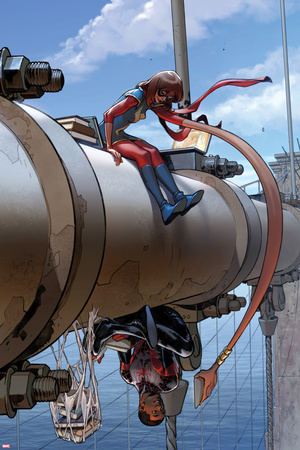 Spider-Man No. 3 Cover Art Featuring: Ms. Marvel (Kamala Khan), Spider-Man Morales and More Photo by Pichelli Sara