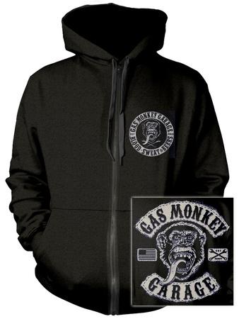 Zip Hoodie: Gas Monkey- Patch Logo (Front/Back) Huvtröja med dragkedja