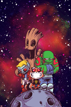 Guardians of the Galaxy Cover Art Featuring: Groot, Star-Lord, Rocket Raccoon, Drax Prints