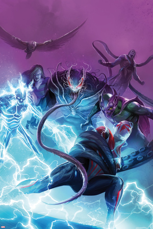 Spider-Man 2099 No. 12 Cover Art with Ulture, Electro, Sandwoman, Venom, Spider-Man 2099, and More Posters by Francesco Mattina