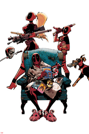 Deadpool Character Art Featuring: Lady Deadpool, Kidpool, Dogpool, Headpool, Deadpool Posters