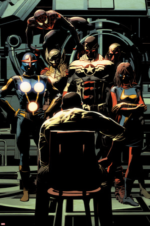 Invincible Iron Man No. 10 Panel Featuring: Nova, Thor, Falcon Cap, Vision, Ms. Marvel and More Print by Mike Deodato