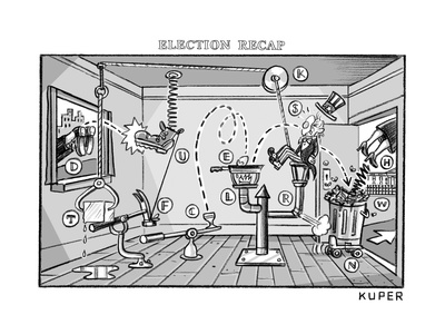 A comical and complex contraption flings various items around a room, incl... - New Yorker Cartoon Giclee Print by Peter Kuper