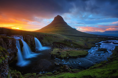 Midnight Sun at Kirkjufell, Eastern Iceland Photographic Print by Vincent James