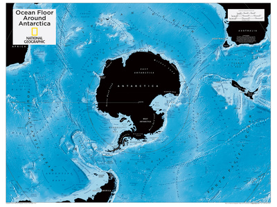2014 Ocean Floor Antarctica - National Geographic Atlas of the World, 10th Edition Plakat af  National Geographic Maps