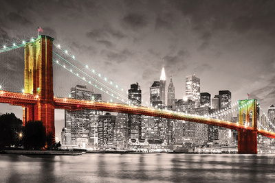 New York City- Brooklyn Bridge At Night Print