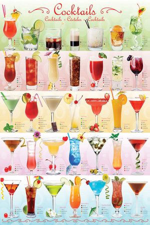Cocktails Mixology Collage Posters