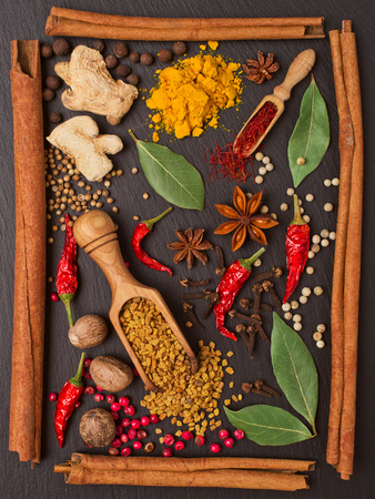 Still Life with Spices and Herbs in the Frame Photographic Print by Andrii Gorulko