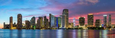 Florida, Miami Skyline at Dusk Photographic Print by John Kellerman