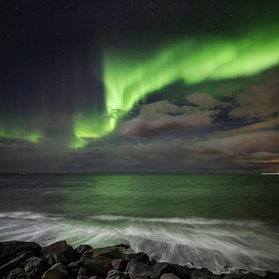 Aurora Borealis or Northern Lights, Seltjarnarnes, Reykjavik, Iceland Photographic Print by Ragnar Th Sigurdsson
