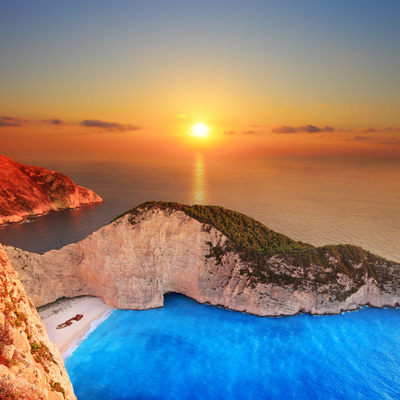 A Panorama of Sunset over Zakynthos Island, Greece Photographic Print by  Ljsphotography