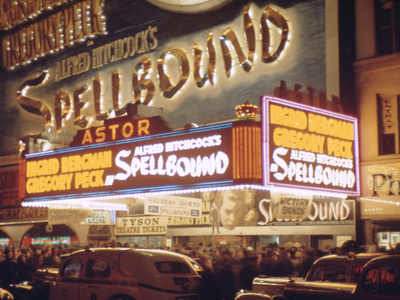 1945: the Astor Theater Marquee Advertising Alfred Hitchcock's Movie 'Spellbound', New York, Ny Photographic Print by Andreas Feininger