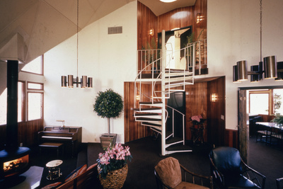 Spiral Staircase in Dr. Charles Bingham's Geodesic Dome House, Fresno, CA, 1972 Photographic Print by John Dominis