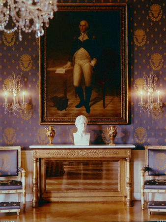 White House Interior View of Furniture, George Washington Painting and And Wallpaper, 1961 Photographic Print by Nina Leen