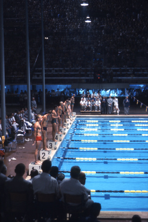 August 1960: Unidentified Swim Race in the Stadio Del Nuoto, 1960 Rome Summer Olympic Games Photographic Print by James Whitmore