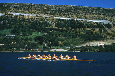 August 1960: U.S. Oar Crew Practicing on Lake Lugane, 1960 Rome Summer Olympic Games Photographic Print by James Whitmore