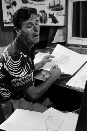 "A Disney Artist-Animator Works on a Drawing from ""Lady and the Tramp,"" Burbank, CA, 1953 Photographic Print by Alfred Eisenstaedt"