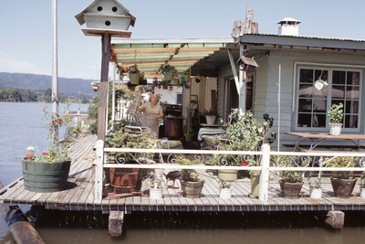 Women Standing Amidst Potted Plants on Floating Home Deck in Portage Bay, Seattle, Wa, 1971 Photographic Print by Michael Rougier