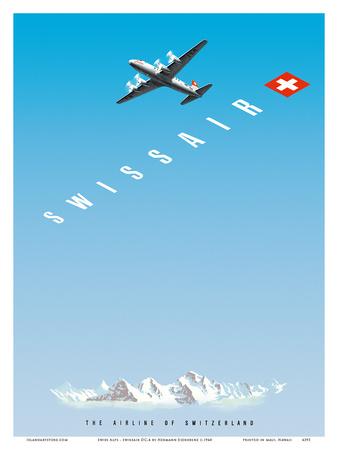Swiss Alps - Swissair DC-4 - The Airline of Switzerland Prints by Hermann Eidenbenz