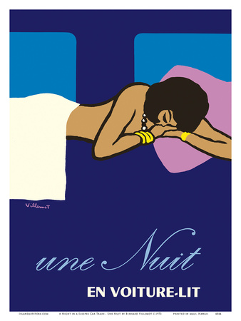 A Night in a Sleeper Car Train (Une Nuit en Voiture-lit) - French National Railways SNCF Poster by Bernard Villemot