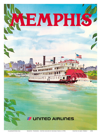 Memphis, Tennessee - United Airlines - Mississippi River Paddlewheel Boat Posters by Michael Hagel