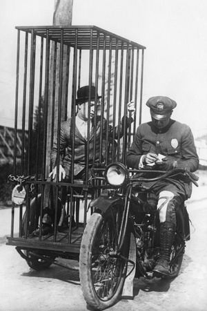 Policeman on a Motorcycle for the Prisoner Transport, 1924 Photographic Print by  Süddeutsche Zeitung Photo