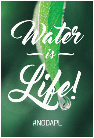 Water Is Life - Leaf Water Drop Póster