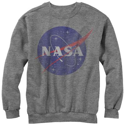 Crewneck Sweatshirt: NASA- Distressed Iconic Logo T-Shirt
