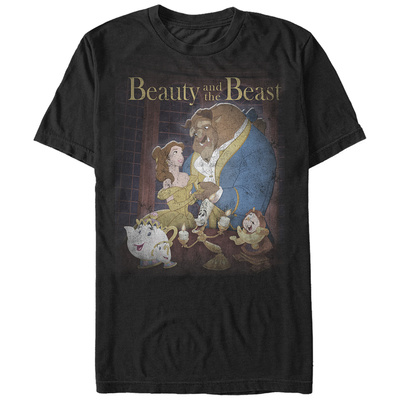 Disney: Beauty & The Beast- Classic Poster Distressed T-shirts