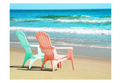 Adirondak Chairs on the beach Prints by Suzanne Foschino