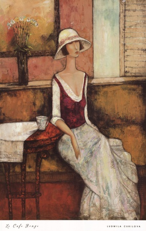Le Caf Rouge Prints by Ludmila Curilova