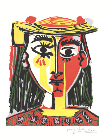 Portrait of a Woman in a Hat with Pompoms and a Printed Blouse Posters by Pablo Picasso