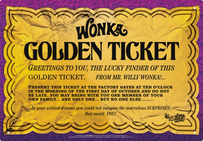 Willy Wonka - Golden Ticket Tin Sign